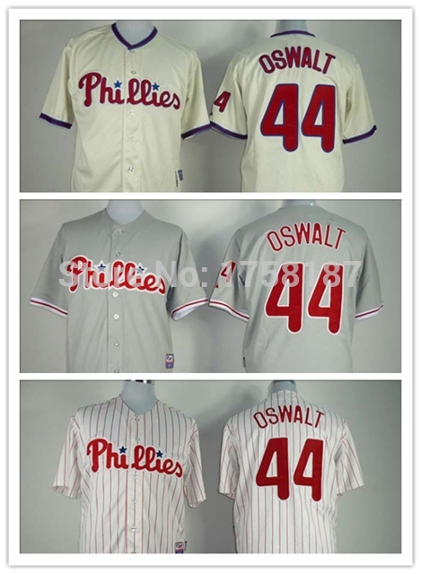 #44 Roy Oswalt Jersey 100% Stitched Philadelphia Phillies cheap authentic sports jerseys mlb jersey Support wholesale(China (Mainland))