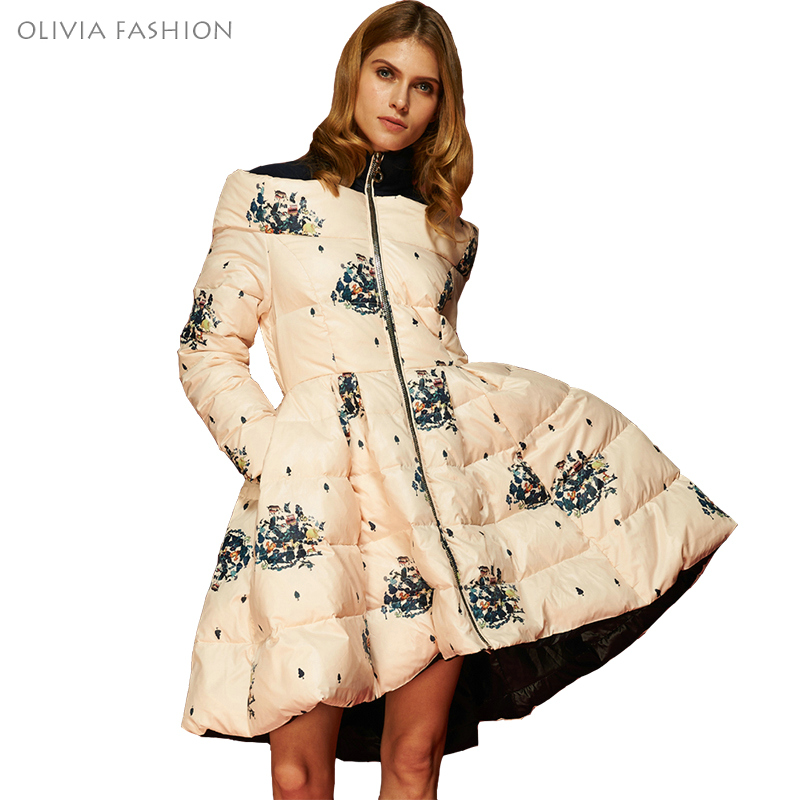 2016 High Quality Floral Print Women's Down Jacket Parka Princess Skirt Off Shoulder Female Winter Coats Clothes(China (Mainland))