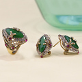 Emerald Indian Jewelry Sets Luxury Costume Bijoux Bijuterias Joyas Wedding Turquoise CZ Zirconia French Hooks Vintage