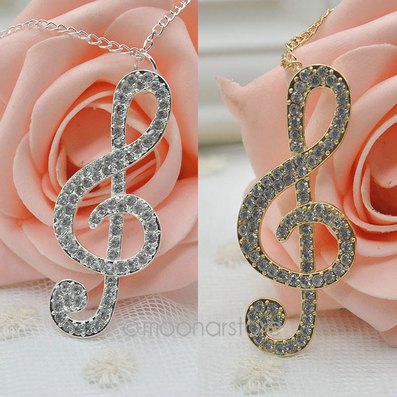 2014 fashion jewelry Silver gold hinestone Crystal Clear Music Note Long Necklace Necklaces women 21MHM223#S5 - Women's Beauty Store store