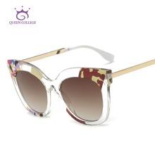 Queen College Sunglasses Women Cat Eye Acetate Frame Coating Lens Transparent Frame Brand Designer Sun Glasses UV400 QC0447(China (Mainland))