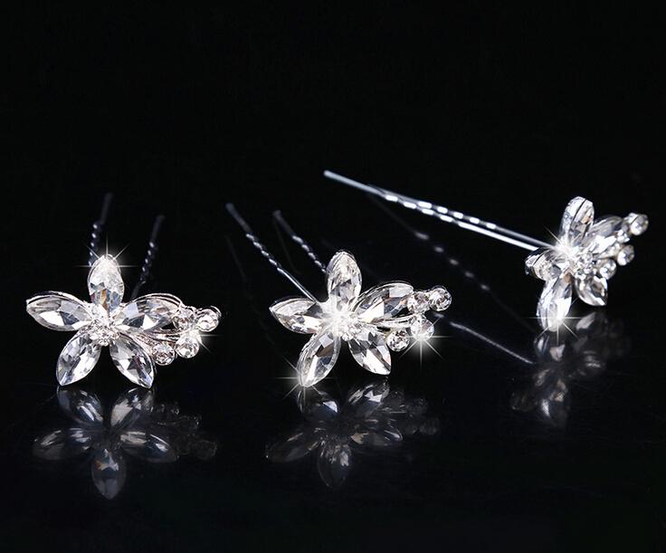 women wedding bridal metal rhinestone butterfly hair stick U shape hairpin hair accessories bride flower hair jewelry(China (Mainland))