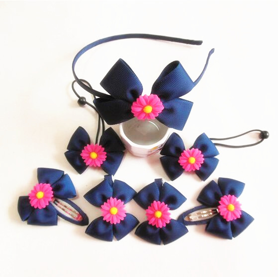 Free shipping 320pcs/lot Boutique Hair Bow with Daisy Boutique hair bow Headband for girls(China (Mainland))