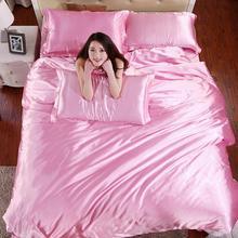 hot satin silk bedding set queen size bed sets solid bedclothes duvet cover set super soft bed sheet pillowcase plaid