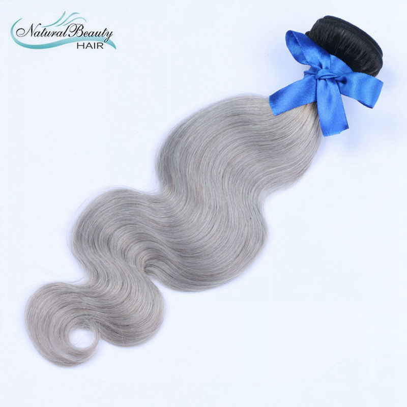 Human hair 1b grey Ombre hair Virgin Brazilian Human Hair straight Human hair 1 pcs a lot body wave style known for the world