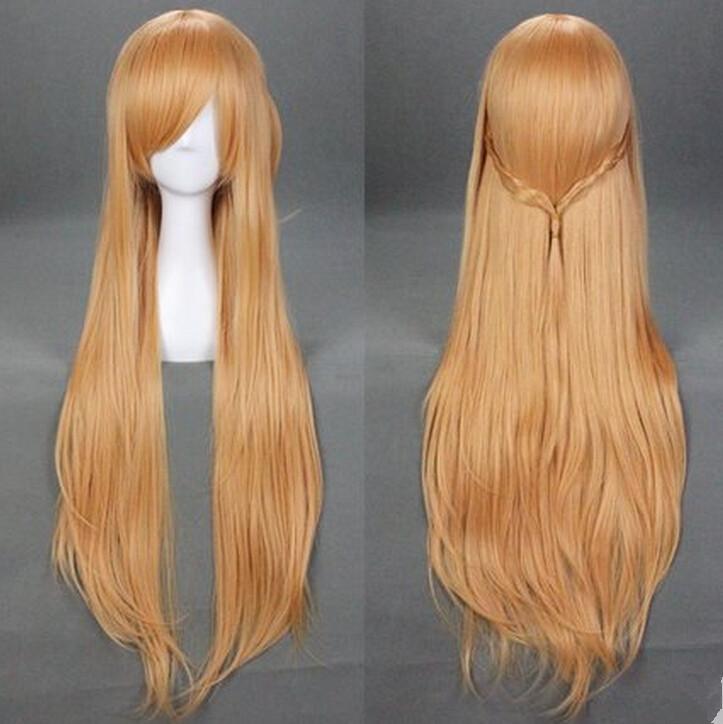 Sword Art Online Yuuki Asuna Anime Cosplay Costume Wig +Wig Cap - ACGMN Store store