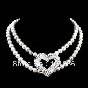 personalized rhinestone dog collar,2 row pearl with rhinestone heart dog necklace pet jewelry(China (Mainland))