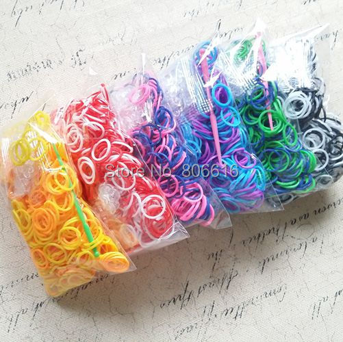 (Free DHL/Fedex) 100Packs Tow Tone DIY Bracelet Rubber Loom Bands Kit Refills (600bands+24S-Clips + 1pc Hook/ Pack)<br><br>Aliexpress