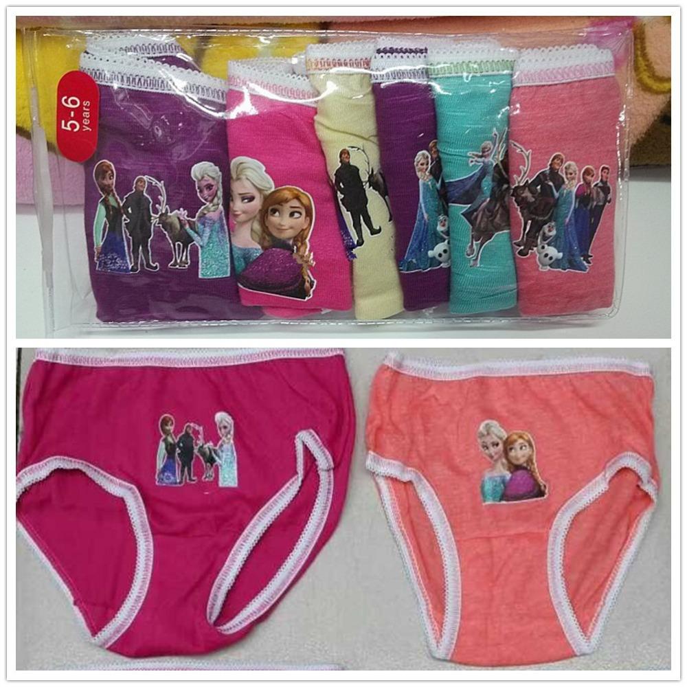 HOT SALE Retail 6Pcs/lot Frozen Anna Elsa Cartoon Underwear Girls Cute Brief Children Cotton Panties Mixed Color Free Shipping<br><br>Aliexpress