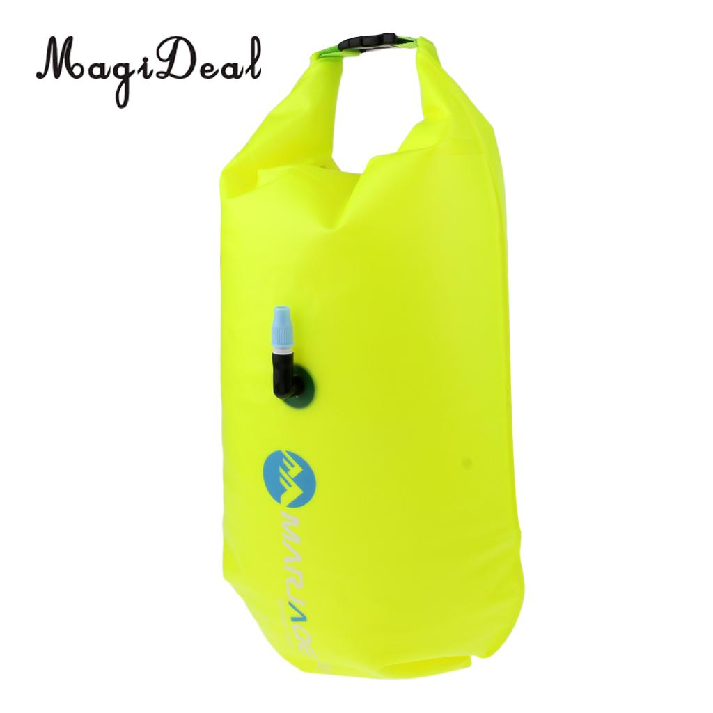 MagiDeal Lightweight High Visibility Inflatable Dry Bag Open Water Swim Float Tow Bag Fluo for Swimming Triathlon Accessories