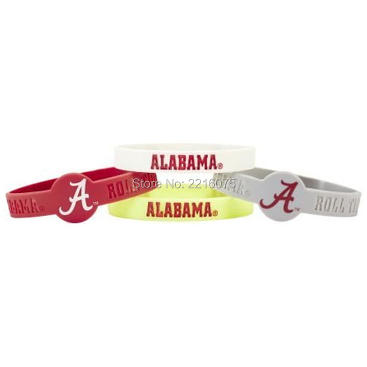 300pcs NCAA Alabama Crimson Tide wristband silicone bracelets free shipping by FEDEX express(China (Mainland))