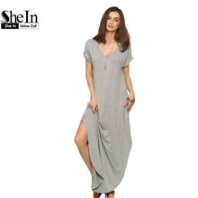 Buy SheIn Women Summer Casual Shift Dresses Womens Plain Grey V Neck Short Sleeve Rolled-cuff Pockets Split Maxi Dress for $14.97 in AliExpress store