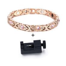 Vinterly bransoletka magnetyczna damski łańcuszek kryształ złoty kolor bransoleta ze stali nierdzewnej kobiety krzyż zdrowie energia bransoletki dla kobiet(China)