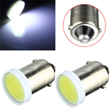 New Arrival 10pcs/lot BA9S W6W 1 COB LED Pure White Car Auto Interior Wedge Side License Plate Light Map Bulb Dome Lamp DC12V(China (Mainland))