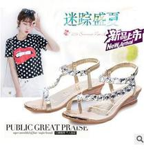 Free shipping new han edition fashion diamond clip toe sandals women wedges slippery wear-resisting shoes 3592(China (Mainland))