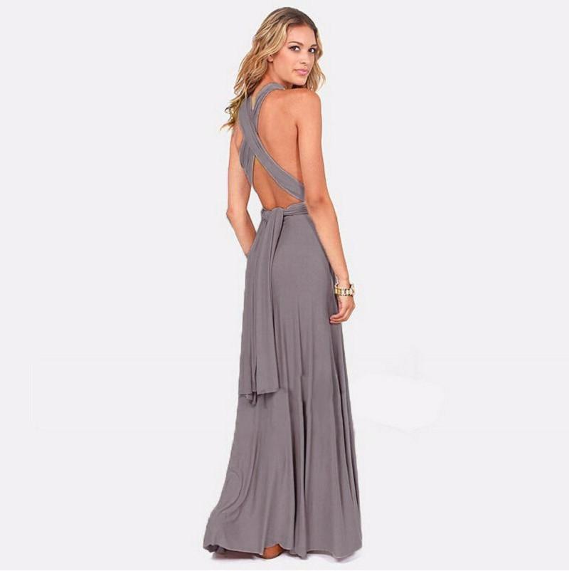 2017 New Bohemian Beach Summer Fashion Elegant Womens Sexy Plain Deep V Neck Maxi Dress bandage dress Several kinds of wearing