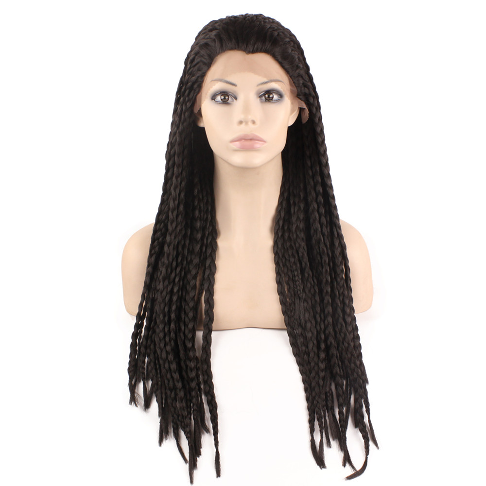 Фотография Synthetic Braiding Hair Wig Full Long Heat Resistant Fiber Micro Braided Lace Front wigs For Black Women