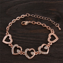 Free Shipping New Arrival 18K Rose Gold Filled Heart Crystal For Women Bracelets(China (Mainland))
