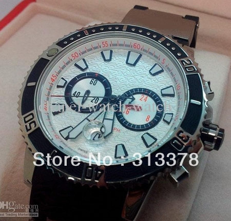 Luxury New In Box Maxi Marine Stainless Silver Men's Chronograph Watch Mens Diver Sport Wrist Watches Rubber Band(China (Mainland))