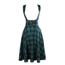 vintage 50s high waist midi swing circle green tartan plaid suspender skirt plus size 4xl falda rockabilly overalls brace skirts