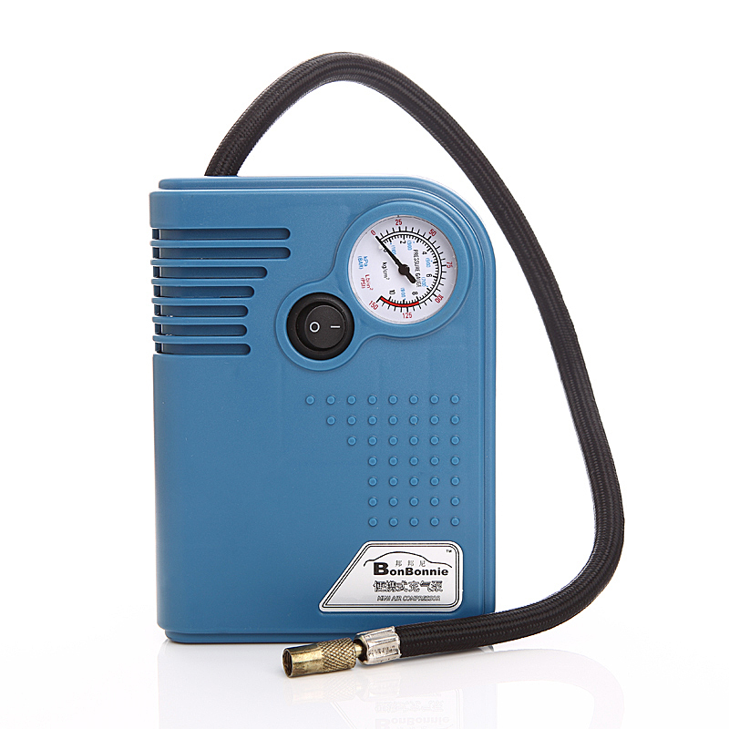 Car Auto Inflatable Pump Air Pump Emergency Air Compressor Cigarette Lighter Power Supply Tire Tools with Tire Pressure Gauge(China (Mainland))