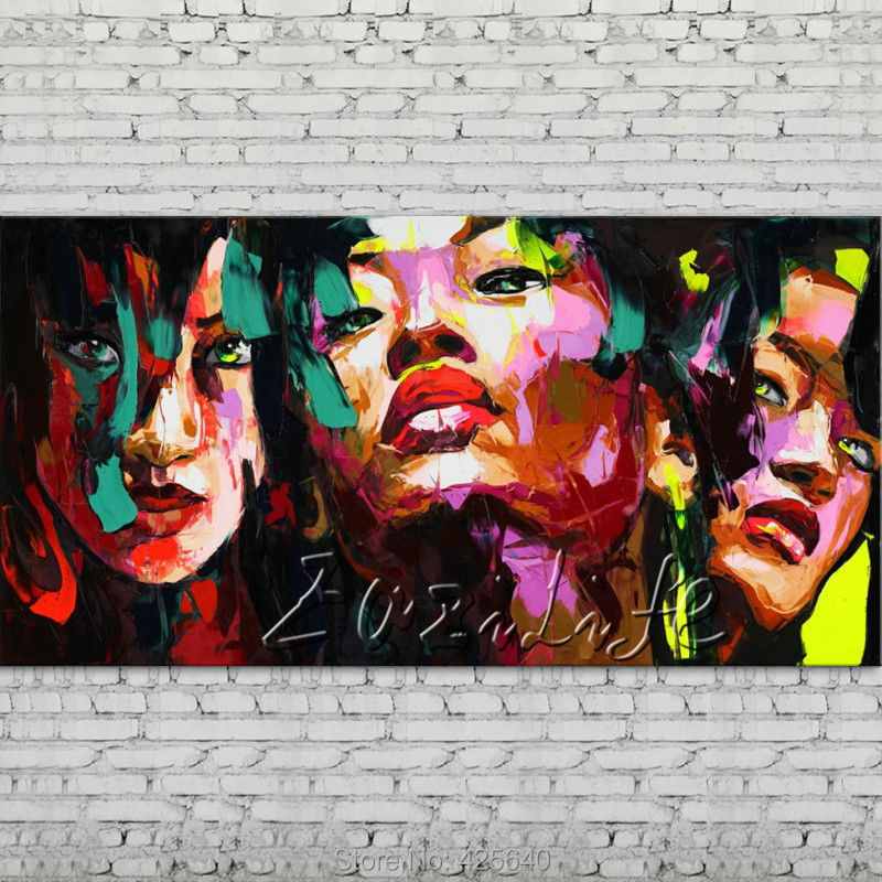 Buy Palette knife portrait Face Oil painting Character figure canva Hand painted Francoise Nielly wall Art picture for living room66 cheap