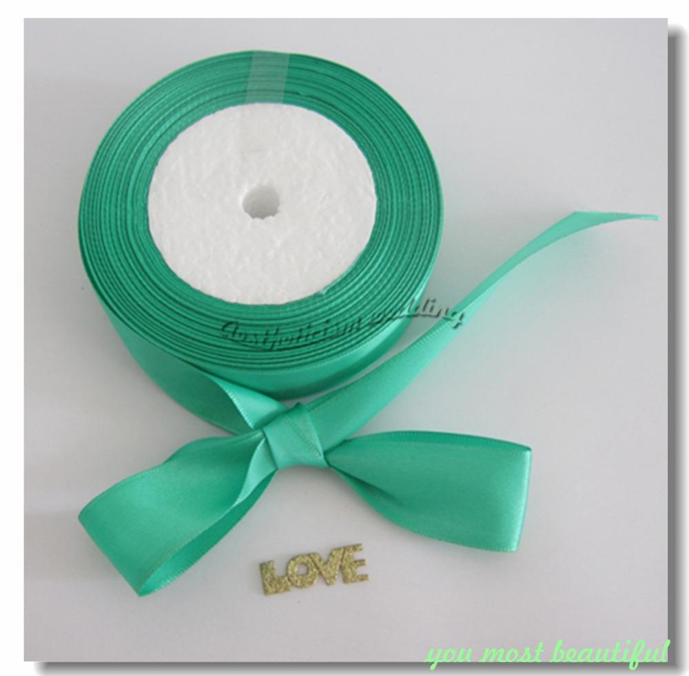 "Wholesale 1 Roll 25 Yards 1"" 25mm Brand New Mint / Aqua Green Satin Ribbon Craft Bow Wedding decoration Gift Supply Home DIY Hot(China (Mainland))"