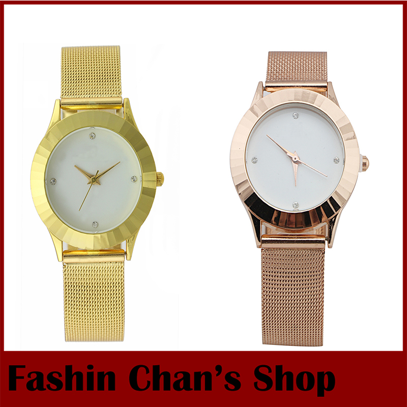 2014 Fashion Quartz Gift Clock Stainless Steel Hours Casual Elegance Ladies Dress Box Luxury Famous Brand