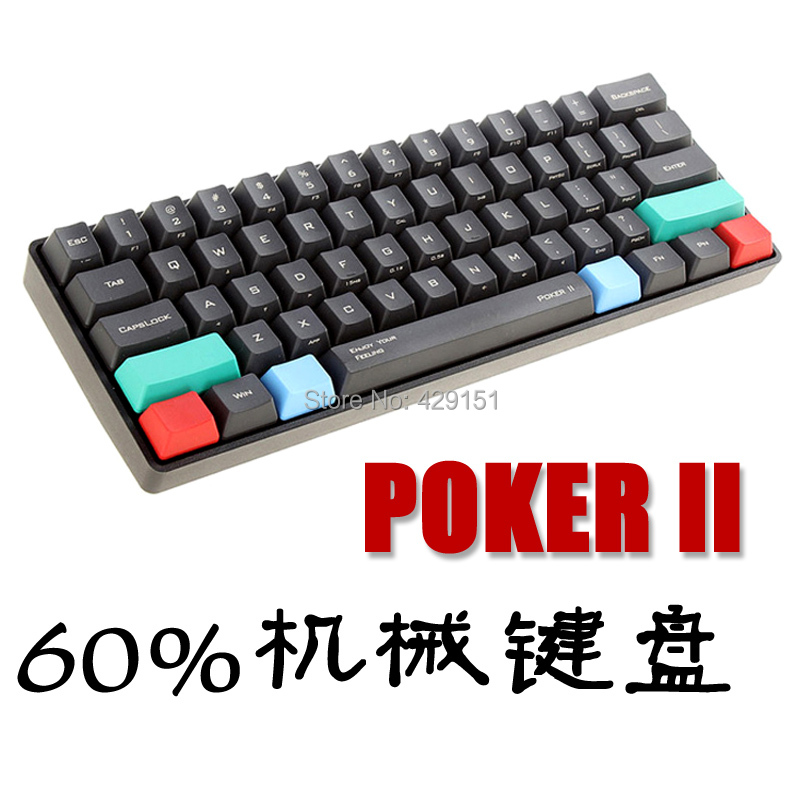 Kbc Poker 2 second generation mini 61 pbt Portable Black Cap Cherry Tea Blue Black Red shaft Mechanical Keyboard Can add LED(China (Mainland))