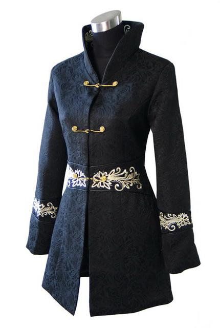 Черный китайский женщины зимой пальто толстые теплые куртки ручной кнопка пальто лонг сим Outwesr sml XL XXL XXXL WJ009