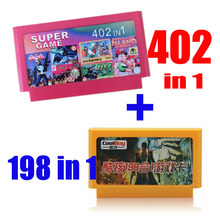 2015 new 8 bit game cartridge classical game card one pair hot sale —— 402 in 1 + 198 IN 1