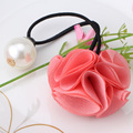 Korea Hair Ring For Women Girl Fashion Rose Flower Pearl Hair Tie Head Ornaments Elastic Hair