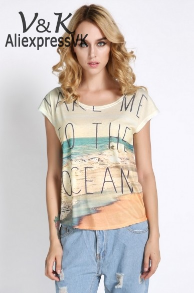 New 2014 Women t Shirt Vintage Summer Short Sleeve Graphic Printed Cotton Casual T-Shirt Tee Blouse Tops 10 Types 30(China (Mainland))