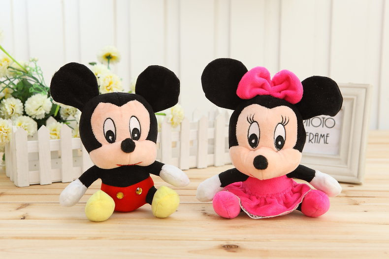 NEW1pcs Lovely Mickey Mouse And Minnie Mouse Plush Toy 18CM Stuffed Cartoon Anime Dolls Children Baby Stuffed Toys For Kids Gift(China (Mainland))