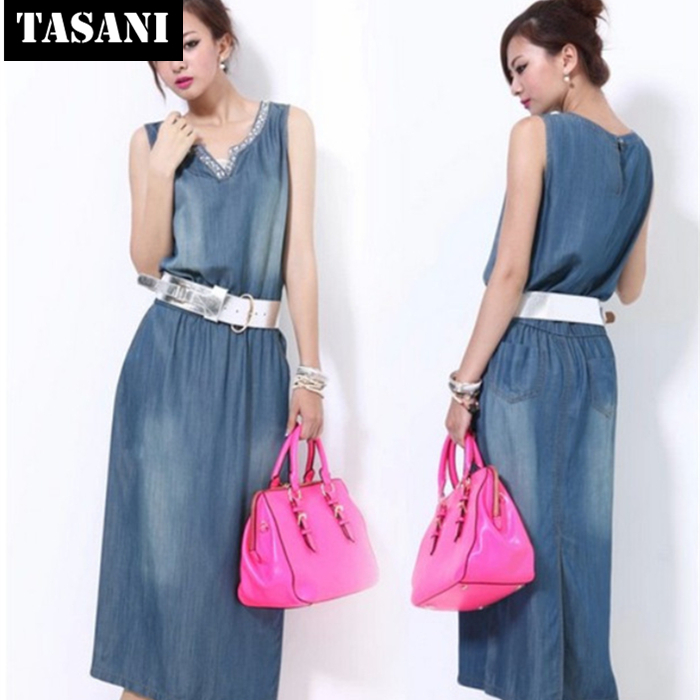 2015 New Fashion Summer Canvas Slim Casual Women Straight Dress American Style V-Neck Sweet I3066 - TASANI store