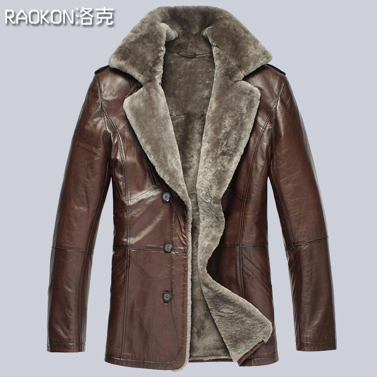 Здесь можно купить  Raokon genuine leather fur one piece leather clothing male genuine leather clothing medium-long sheepskin overcoat  Одежда и аксессуары