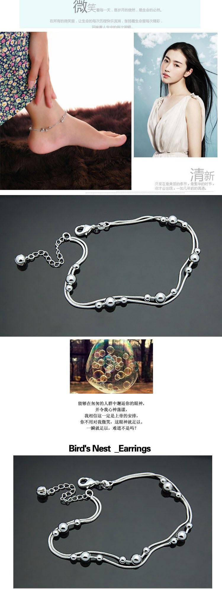 Ювелирные изделия из ножной браслет для женщины, 925 женщины чистое серебро ножной браслет ; сплошной дизайн ;