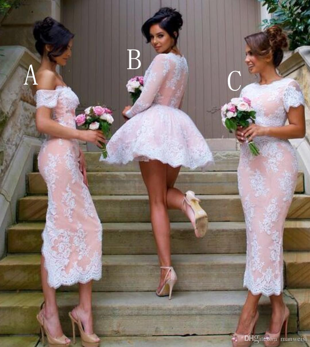 Short 2016 Long Sleeve Lace Bridesmaid Dresses Cheap V
