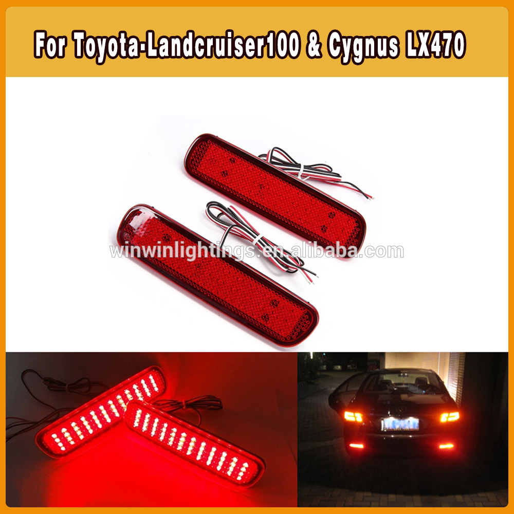 Red LED Auto parts toyota landcruiser rear bumper lamp reflector as brake tail light For Toyota & Scion:(China (Mainland))