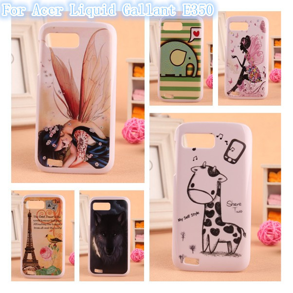 1pcs Newest Arrivre Cartoon Design PC Hard Housing Cell Phone Shell Protector Back Skin Case For Acer Liquid Gallant E350(China (Mainland))