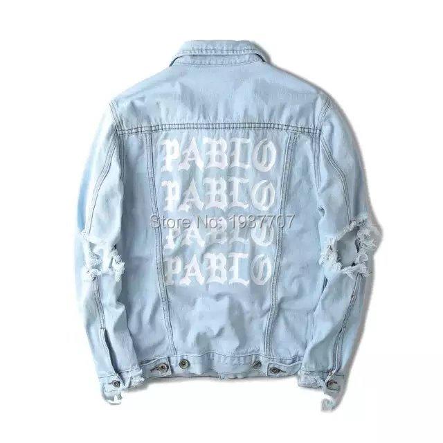 Light Blue Denim Jacket Kanye west PABLO Album Souvenir Heybig Swag Clothing Street Fashion Hiphop men jean Jackets(China (Mainland))