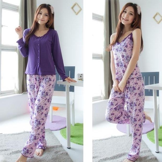 Sleepwear women's spring autumn 100% cotton long-sleeve three pieces set lace spaghetti strap summer purple lounge - The fashion pajamas franchise shop store