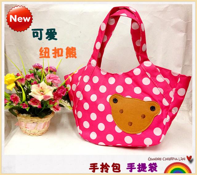 Button color block decoration polka dot canvas bag tote bag small handbag lunch bags casual bag  MOQ>=10USD