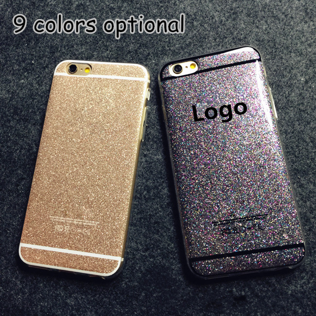 HOT! Newest Fashion Cute Candy Colors Soft TPU Phone Cases Back Covers For Apple iphone 5 5S Glitter Shine Rear Cover with LOGO(China (Mainland))