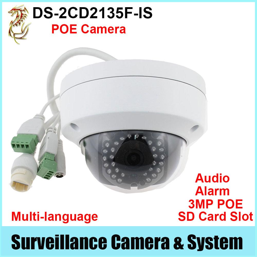 Фотография POE IP Camera DS-2CD2135F-IS 3MP HD1080P Audio Alarm SD Slot Security Camera Outdoor