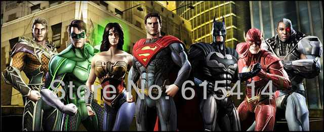 01 Justice League Superman Batman Wonder Woman Green Lantern Flash 34''x14'' inch wall Poster with Track Num