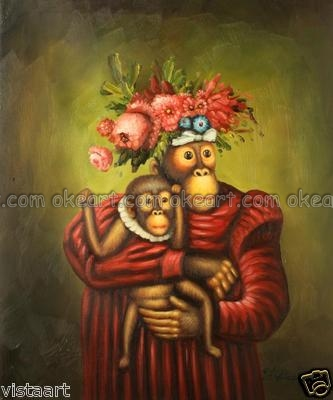 oil paintings free shipping Animal decoration Mama and Baby Chimp Bathroom background Abstract Modern Art Deco(China (Mainland))