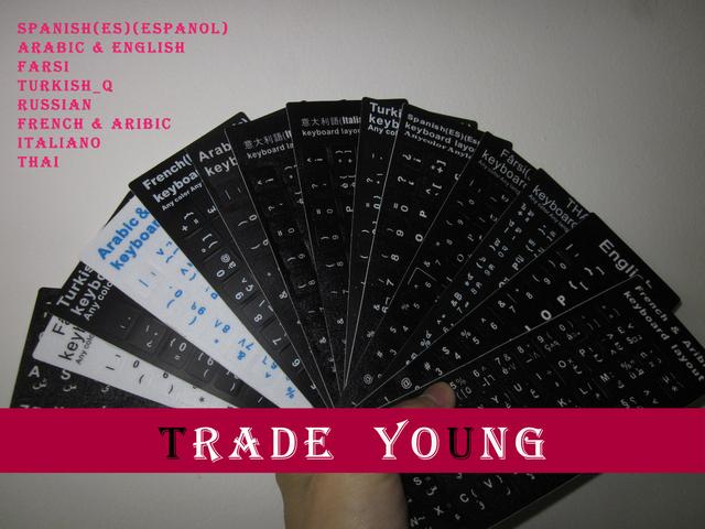 New Spanish(ES)(Espanol) Arabic&English Farsi Turkish_Q Russian French&Aribic Italiano THAI Keyboard Stickers Alphabet BT0358-N