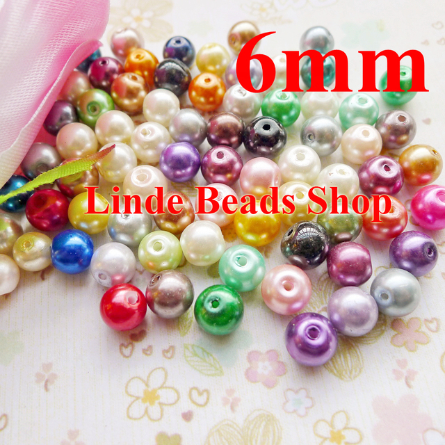 750pcs/lot multi mixed clour 6mm glass pearl beads christmas ornament loose round beads for jewelry, decoration, GP06000