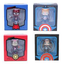 4 pçs/set 8-10 centímetros Brinquedos Marvel The Avengers Q Versão Figuras de Super-heróis Capitão América Soldado Inverno Spiderman Colecionável modelo(China)